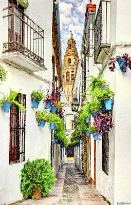Digital Art - Cordoba Flower Street Painting by Weston Westmoreland