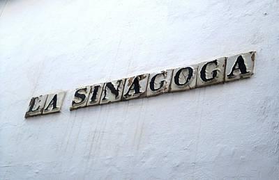 Spanish Synagogue Photograph - Cordoba La Sinagoga Synagogue Tile Sign Spain by John Shiron