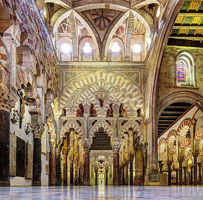 Photograph - Cordoba Mosque Arches Wide by Weston Westmoreland