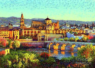 Stone Buildings Painting - Cordoba Mosque Cathedral Mezquita by Jane Small
