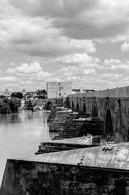 Photograph - Cordoba - The Roman Bridge Bw by Andrea Mazzocchetti
