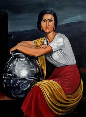 Painting - Cordobesa En La Fuente  by Manuel Sanchez