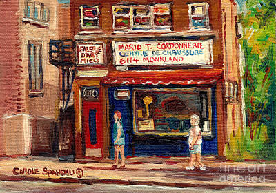 Montreal Storefronts Painting - Cordonnerie Coin Key Shoe Repair Shop Montreal Memories Original Canadian Art Scene Carole Spandau   by Carole Spandau