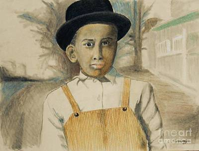 Mixed Media - Corduroy Overalls,1942 -- Retro Portrait Of African-american Child by Jayne Somogy