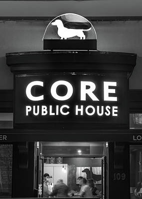 Core Brewery Public House - Downtown Bentonville - Black And White Print by Gregory Ballos