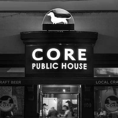 Core Public House - Downtown Bentonville - Black And White Print by Gregory Ballos