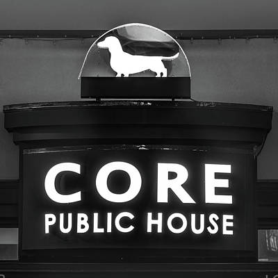 Photograph - Core Tap House In Downtown Bentonville Arkansas Black White by Gregory Ballos