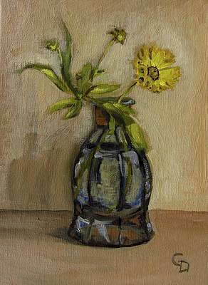 Painting - Coreopsis In Perfume Bottle by Grace Diehl