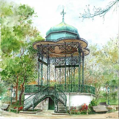 Bandstand Painting - Coreto - Old Wrought-iron Bandstand Jardim Da Estrela Lisbon Portugal  by Elena Petrova Gancheva