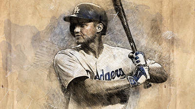 Los Angeles Dodgers Drawing - Corey Seager by Anna J Davis