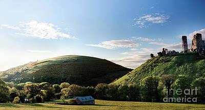 Corfe Castle Morning Panoramic Art Print by Simon Bratt Photography LRPS