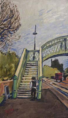 Bridge Painting - Corfe Castle Railway Station by Nop Briex