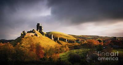 Treasure Mixed Media - Corfe Castle by Svetlana Sewell