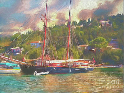 Art Print featuring the photograph Corfu 35 Tall Ship In Paxos by Leigh Kemp