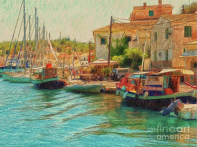Art Print featuring the photograph Corfu 39 - Boats Paxos by Leigh Kemp