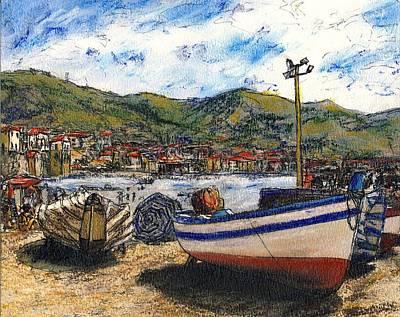 Corfu Painting - Corfu Beached Fishing Boats by Randy Sprout