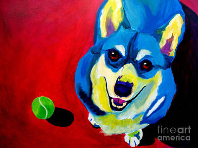 Corgi - Play Ball Original by Alicia VanNoy Call