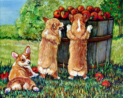 Corgi Painting - Corgi Apple Harvest Pembroke Welsh Corgi Puppies by Lyn Cook