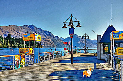Art Print featuring the drawing Corgi At Queenstown New Zealand by Kathy Kelly