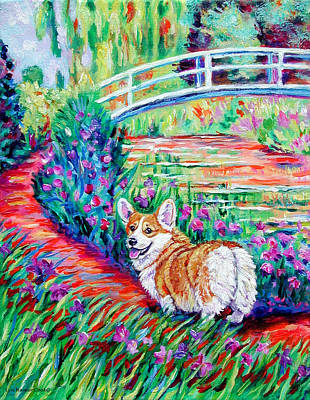 Pembroke Welsh Corgi Painting - Corgi At The Japanese Bridge by Lyn Cook