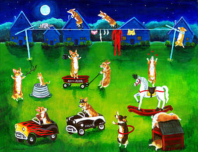 Corgi Backyard Circus Art Print by Lyn Cook