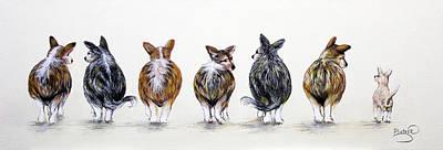 Corgi Butt Lineup With Chihuahua Art Print by Patricia Lintner