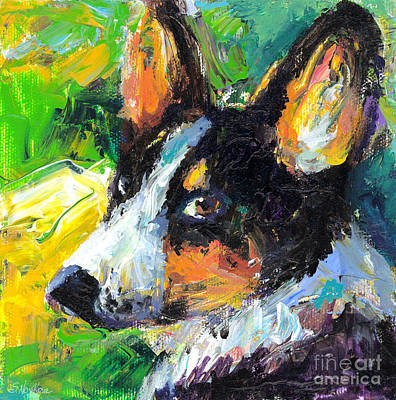 Dog Portrait Painting - Corgi Dog Portrait by Svetlana Novikova