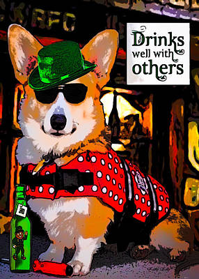 Corgi - Drinks Well With Others Art Print