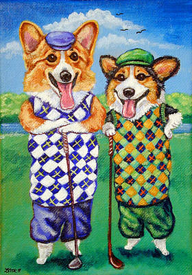 Cartoon Animals Painting - Corgi Golfers Pembroke Welsh Corgi by Lyn Cook