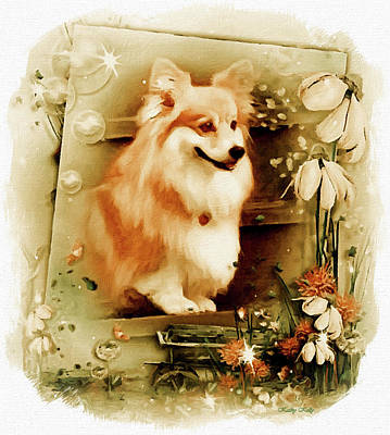Breed Digital Art - Corgi In The Garden by Kathy Kelly