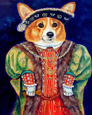 Puppies Painting - Corgi King by Lyn Cook