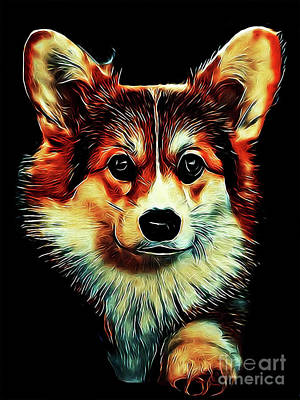 Digital Art - Corgi Portrait by Kathy Kelly