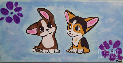 Photograph - Corgi  Puppies Painting by Peggy Franz