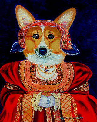 Puppies Painting - Corgi Queen by Lyn Cook