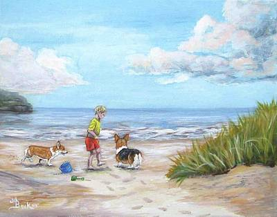 Painting - Corgi Seaside Play by Ann Becker