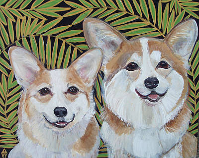 Corgies Art Print by Judy Henn