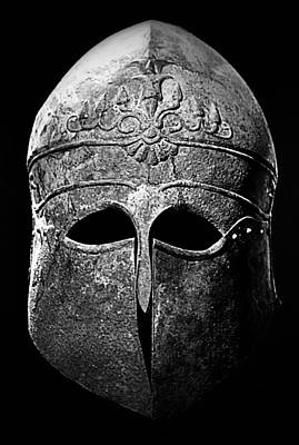 Photograph - Corinthian Helmet In Black And White by Nadalyn Larsen