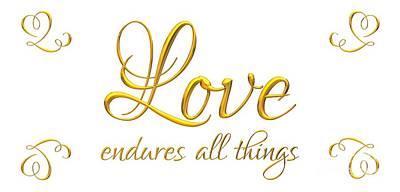 Digital Art - Corinthians Love Endures All Things by Rose Santuci-Sofranko