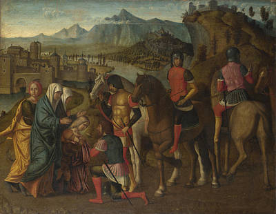 Coriolanus Persuaded By His Family To Spare Rome Print by Michele da Verona