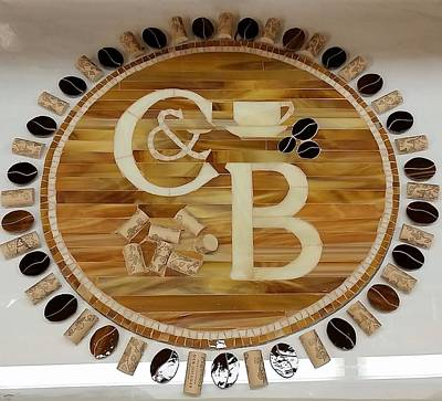 Glass Art - Cork And Beans Logo by Liz Lowder