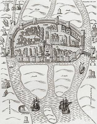 Plan View Drawing - Cork, County Cork, Ireland In 1633 by Irish School