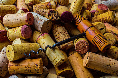 Corks And Corkscrew Print by Garry Gay