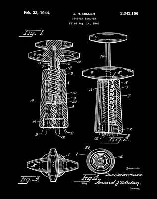 Winery Digital Art - Corkscrew Patent 1944 Black by Bill Cannon