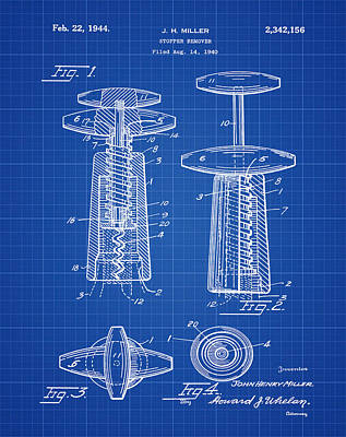 Wine Photograph - Corkscrew Patent 1944 Blue Print by Bill Cannon