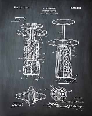 Winery Digital Art - Corkscrew Patent 1944 Vintage Chalk by Bill Cannon