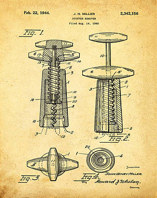 Winery Digital Art - Corkscrew Patent 1944 Vintage Sepia by Bill Cannon
