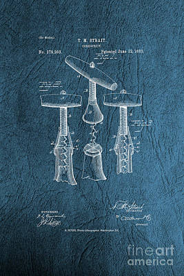 Photograph - Corkscrew Patent Drawing From 1883 - Vintage by Doc Braham