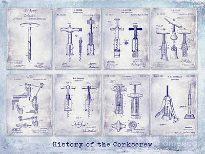 Wine-press Photograph - Corkscrew Patent History Blueprint by Jon Neidert