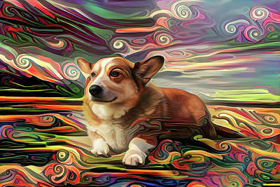 Digital Art - Corky The Corgi At The Beach by Peggy Collins