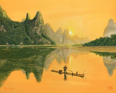 Cormorant Fisherman, River Li, Guilin, Art Print by Richard Harpum